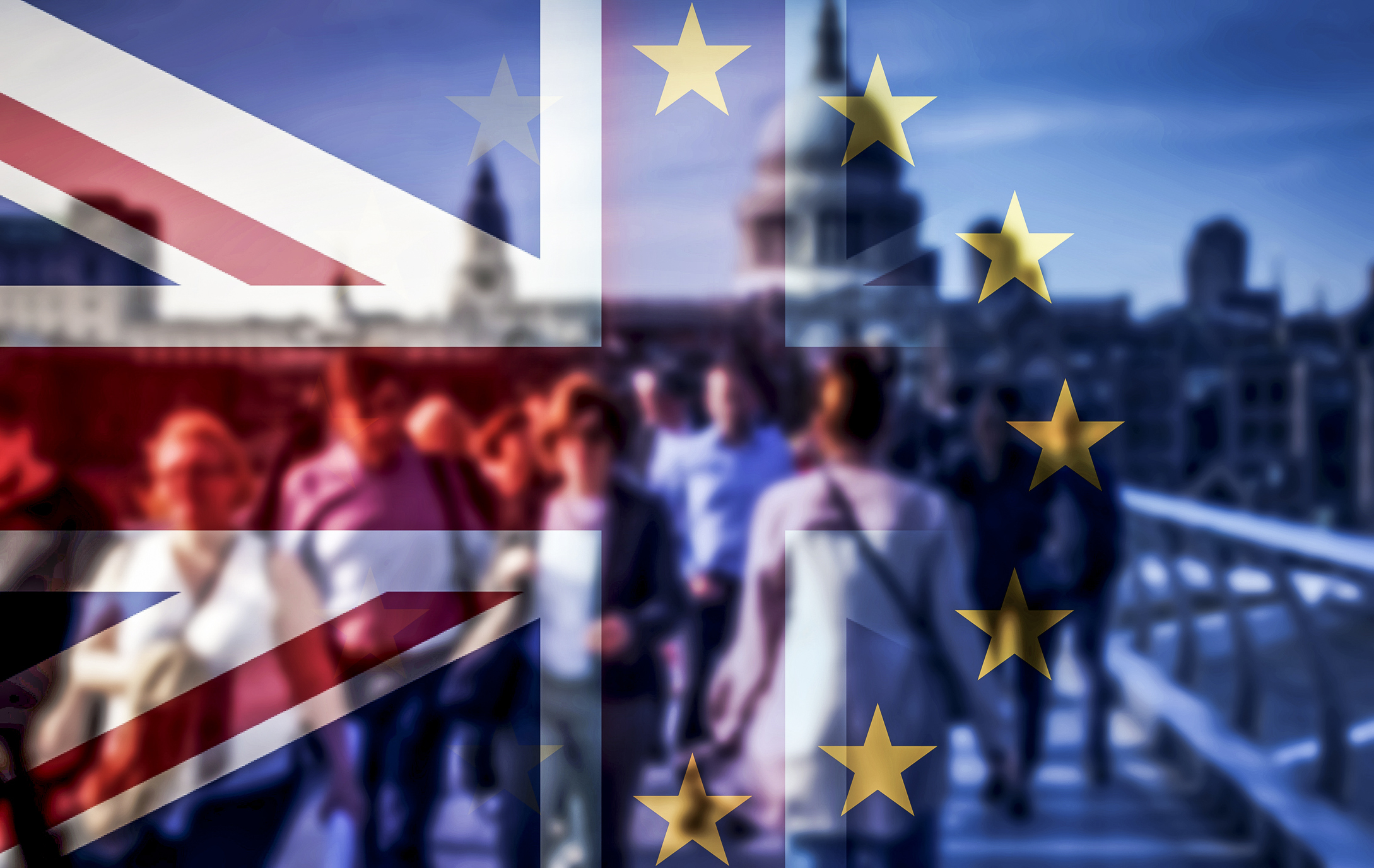 brexit concept - double exposure of flags and people walking on Millenium Bridge