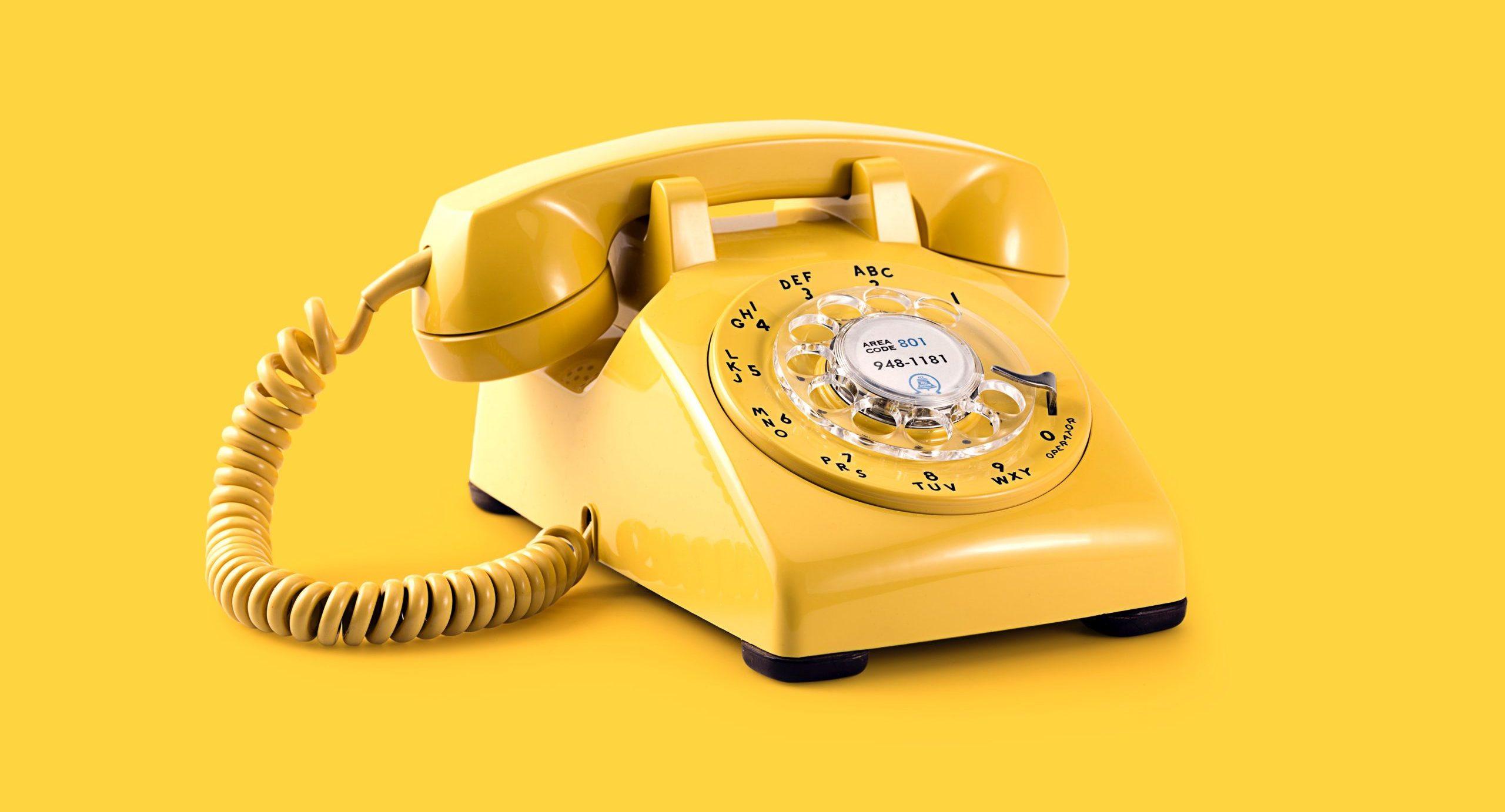 Yellow vintage telephone